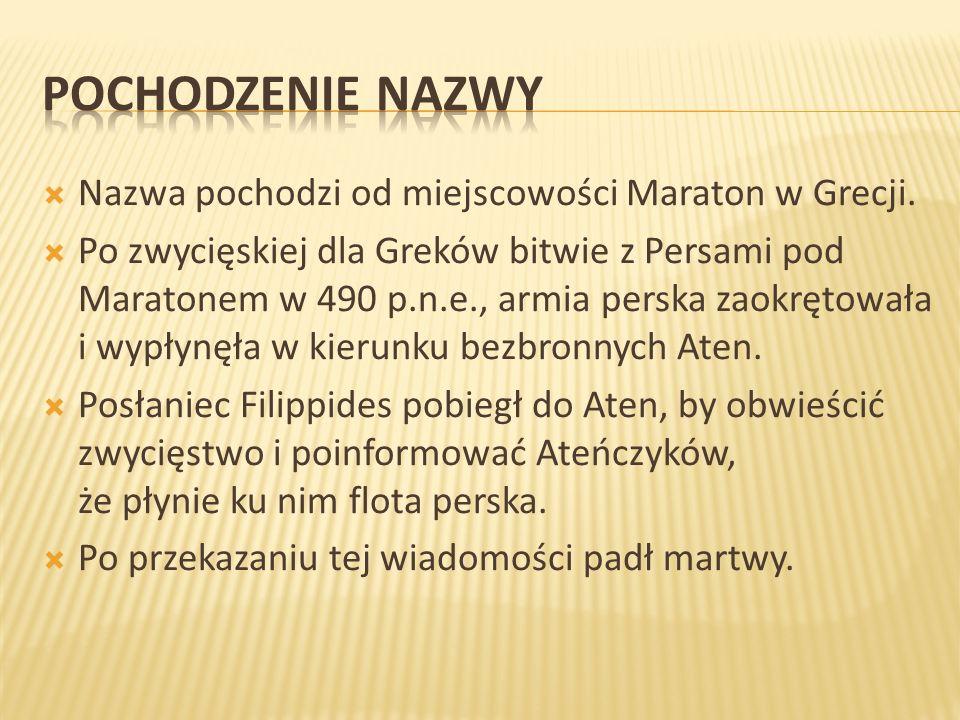 Pochodzenie nazwy Nazwa pochodzi od miejscowości Maraton w Grecji.