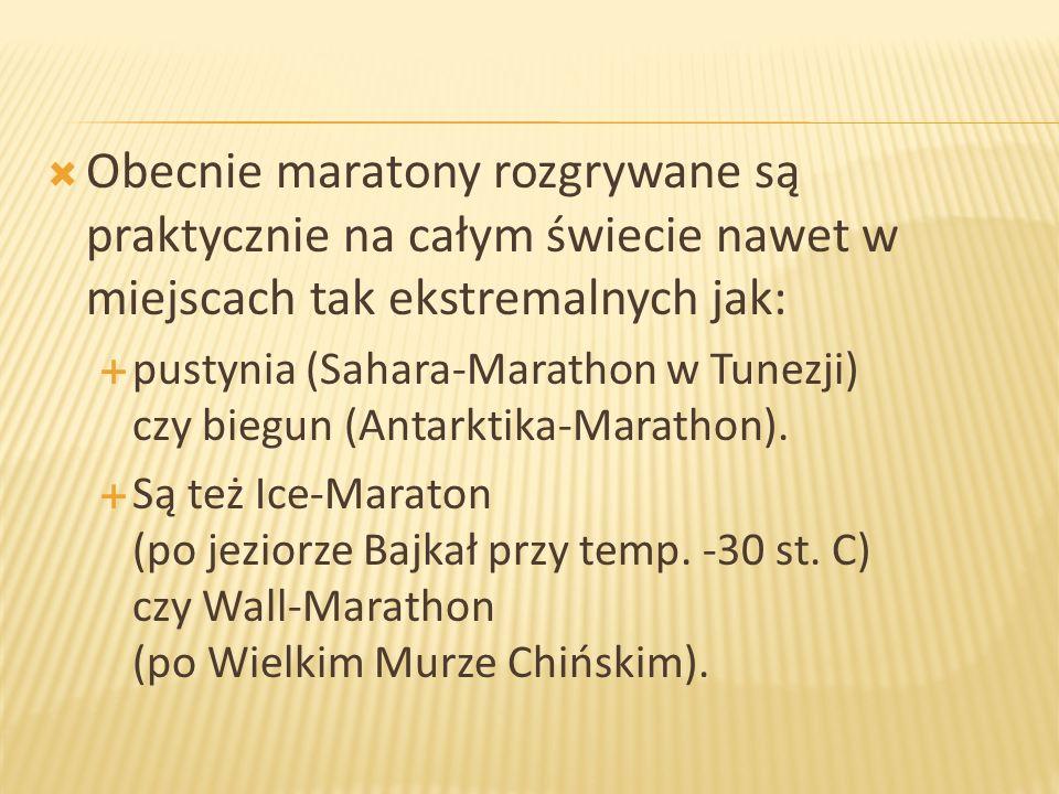 Obecnie maratony rozgrywane są praktycznie na całym świecie nawet w miejscach tak ekstremalnych jak:
