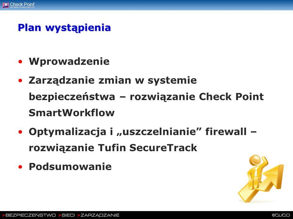 Plan wystąpienia Wprowadzenie. Zarządzanie zmian w systemie bezpieczeństwa – rozwiązanie Check Point SmartWorkflow.