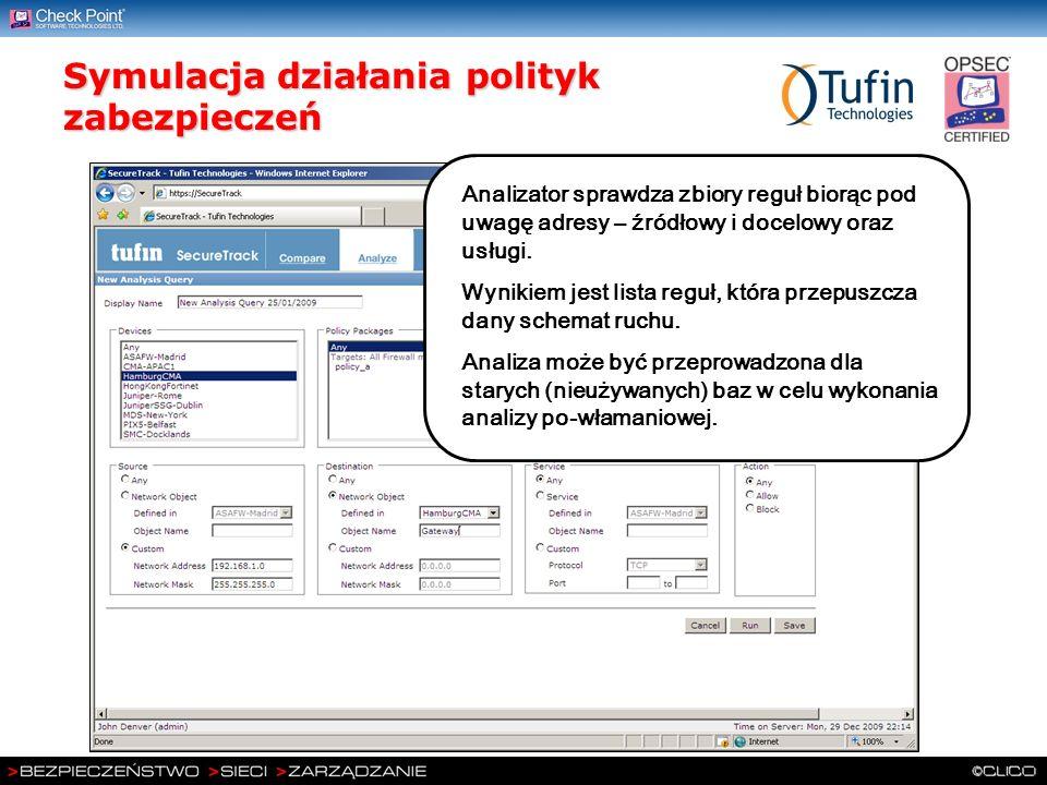 Symulacja działania polityk zabezpieczeń