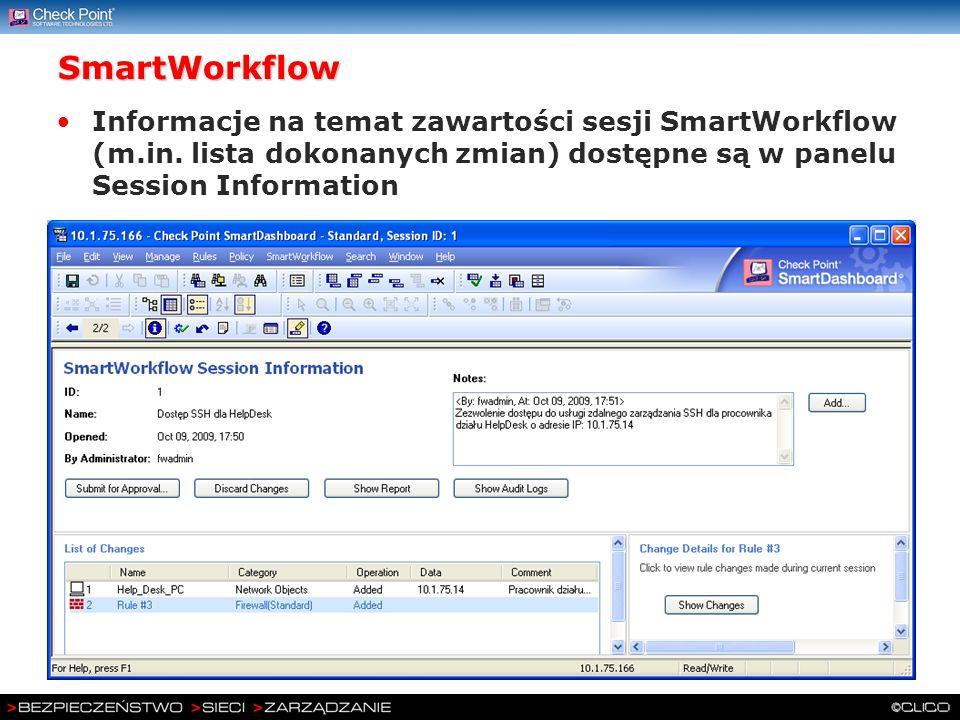SmartWorkflow Informacje na temat zawartości sesji SmartWorkflow (m.in.