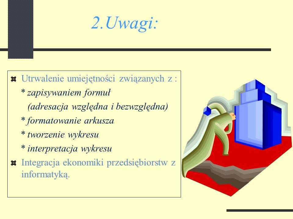 2.Uwagi: Utrwalenie umiejętności związanych z : * zapisywaniem formuł