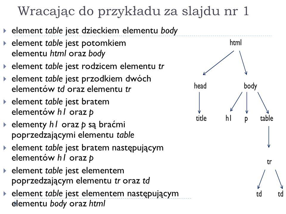Wracając do przykładu za slajdu nr 1