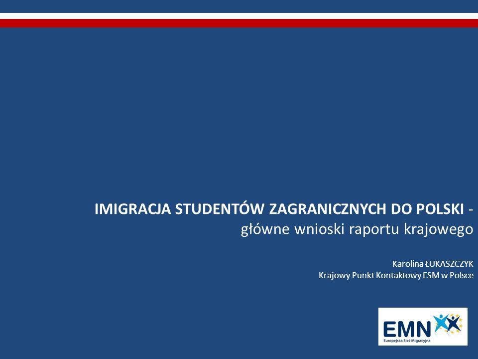 IMIGRACJA STUDENTÓW ZAGRANICZNYCH DO POLSKI - główne wnioski raportu krajowego Karolina ŁUKASZCZYK Krajowy Punkt Kontaktowy ESM w Polsce