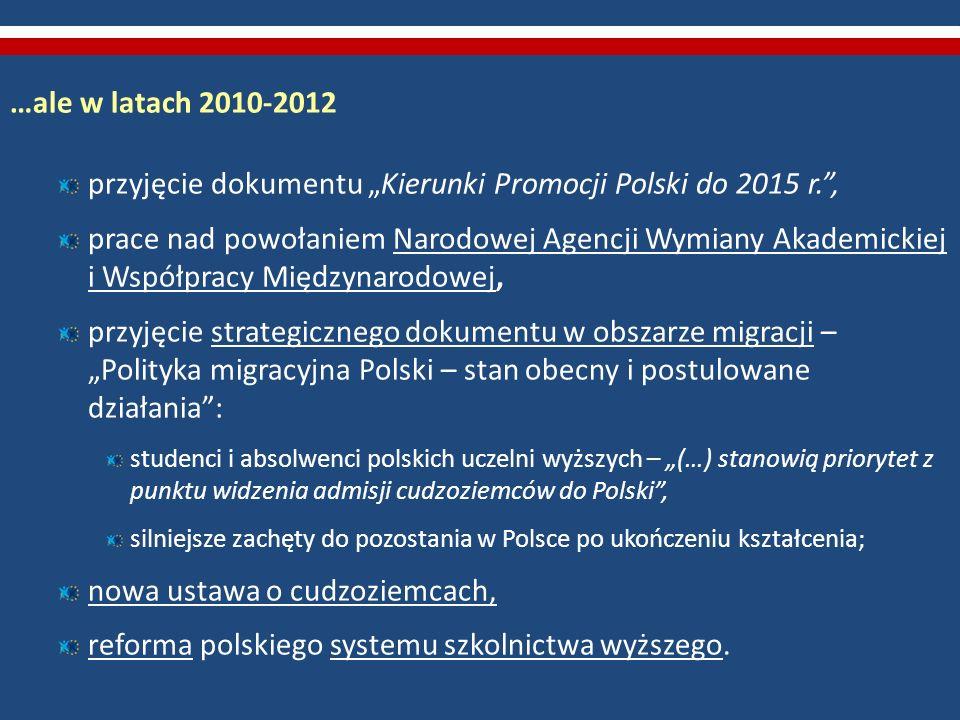 """przyjęcie dokumentu """"Kierunki Promocji Polski do 2015 r. ,"""