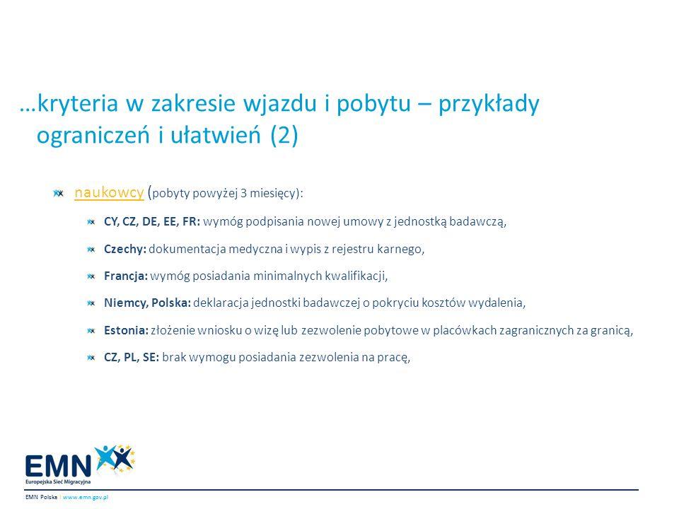 …kryteria w zakresie wjazdu i pobytu – przykłady ograniczeń i ułatwień (2)