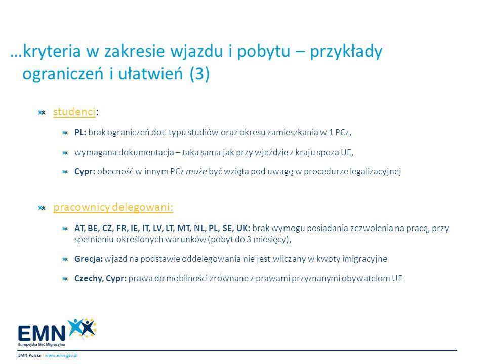…kryteria w zakresie wjazdu i pobytu – przykłady ograniczeń i ułatwień (3)