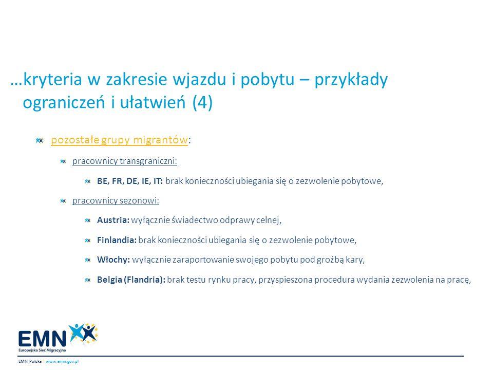 …kryteria w zakresie wjazdu i pobytu – przykłady ograniczeń i ułatwień (4)