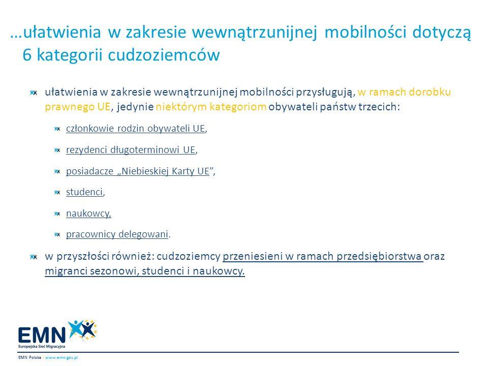 …ułatwienia w zakresie wewnątrzunijnej mobilności dotyczą 6 kategorii cudzoziemców