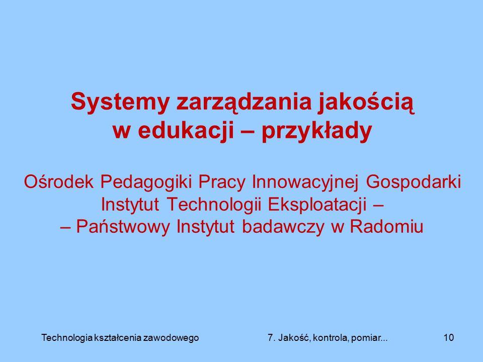 Systemy zarządzania jakością w edukacji – przykłady