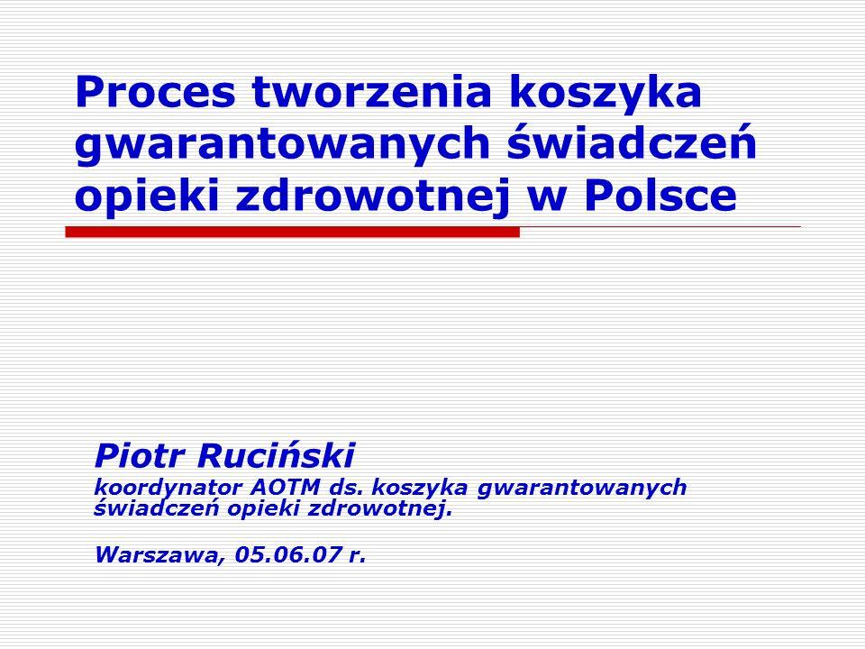 Proces tworzenia koszyka gwarantowanych świadczeń opieki zdrowotnej w Polsce