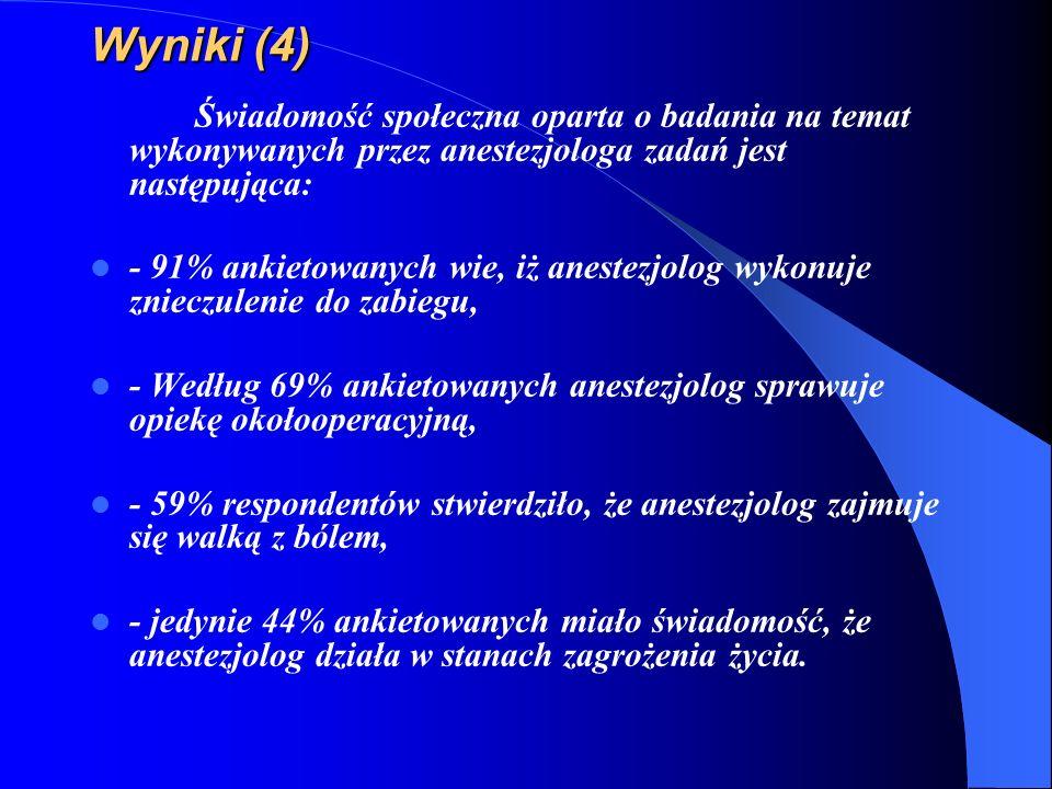 Wyniki (4) Świadomość społeczna oparta o badania na temat wykonywanych przez anestezjologa zadań jest następująca: