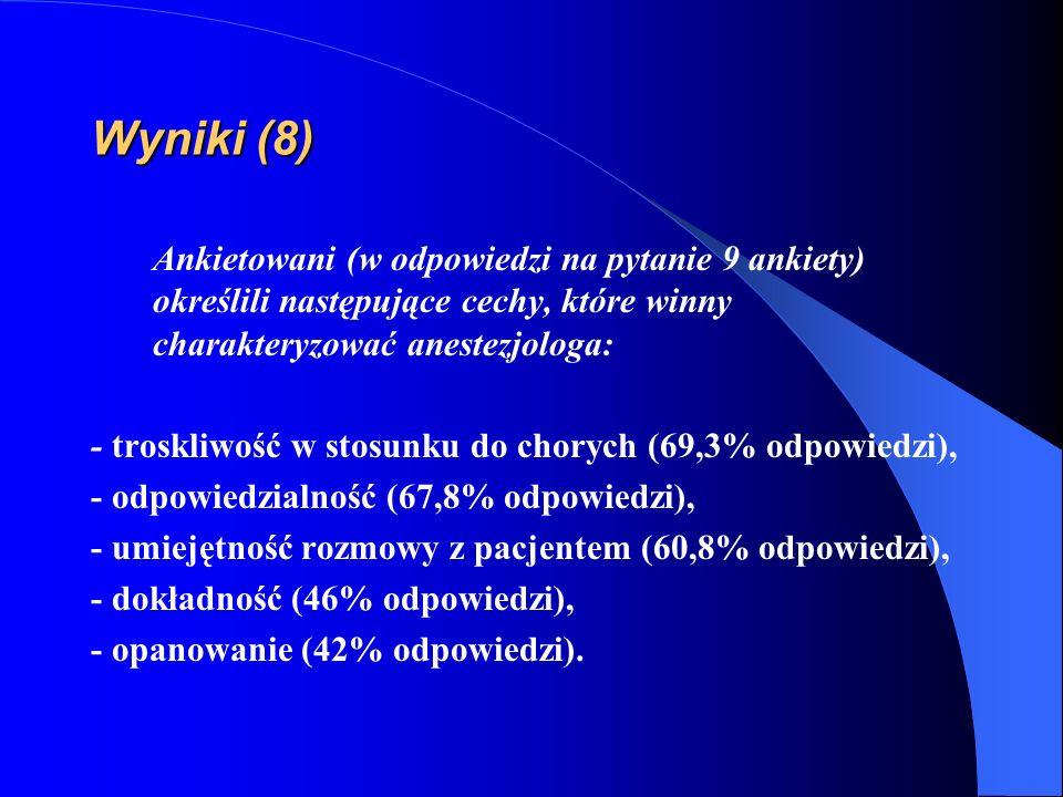 Wyniki (8) Ankietowani (w odpowiedzi na pytanie 9 ankiety) określili następujące cechy, które winny charakteryzować anestezjologa: