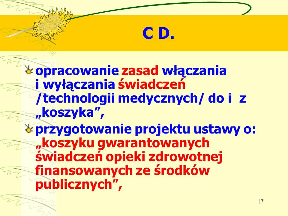 """C D.opracowanie zasad włączania i wyłączania świadczeń /technologii medycznych/ do i z """"koszyka ,"""