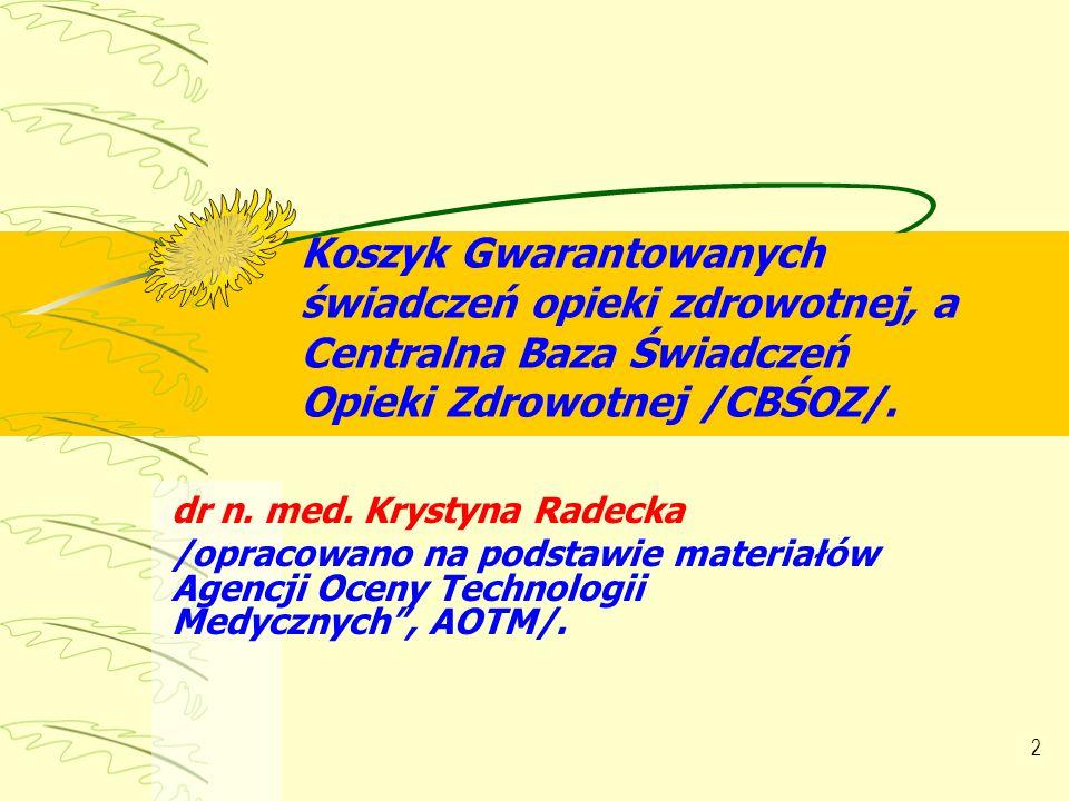 Koszyk Gwarantowanych świadczeń opieki zdrowotnej, a Centralna Baza Świadczeń Opieki Zdrowotnej /CBŚOZ/.