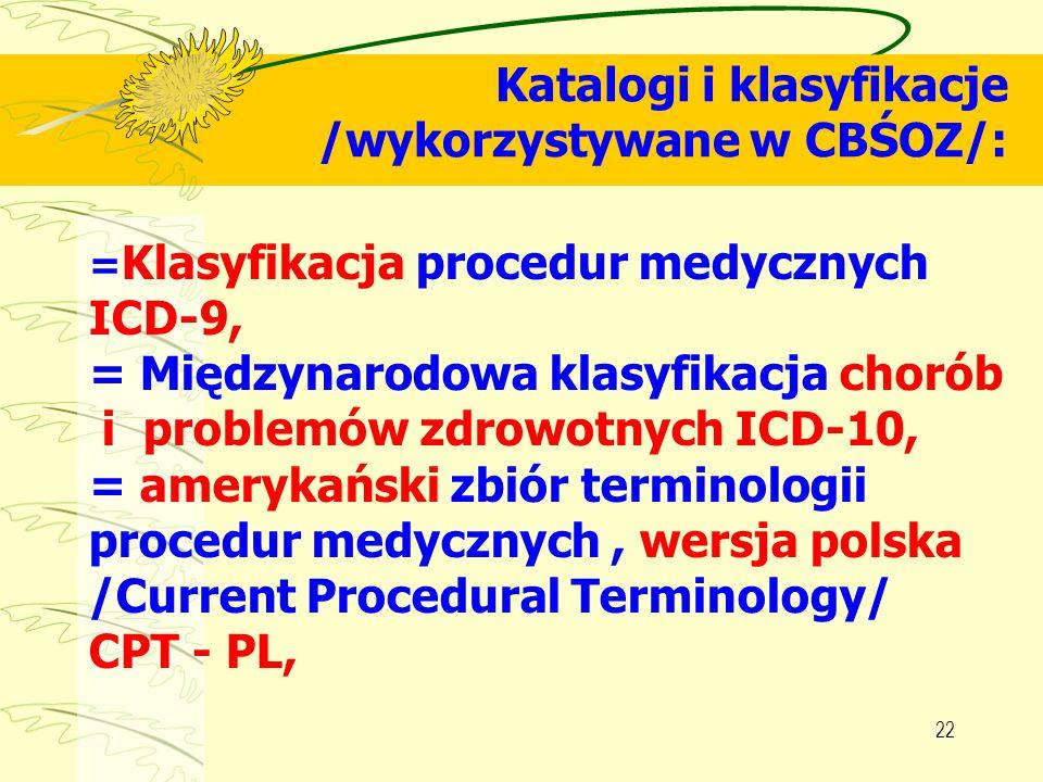 Katalogi i klasyfikacje /wykorzystywane w CBŚOZ/: