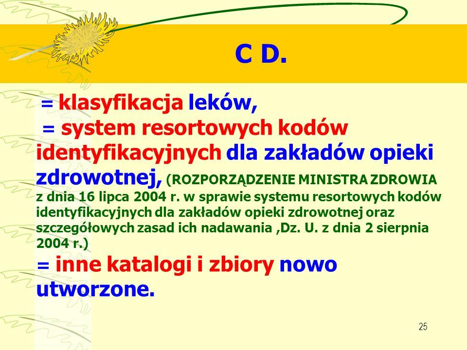 C D.= klasyfikacja leków, = system resortowych kodów.