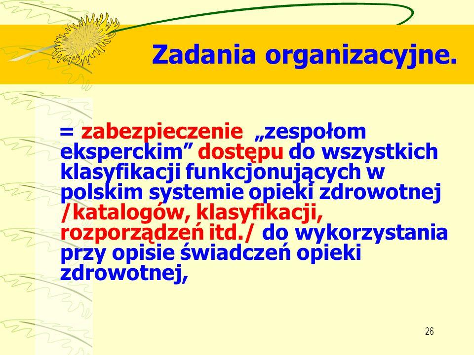 Zadania organizacyjne.