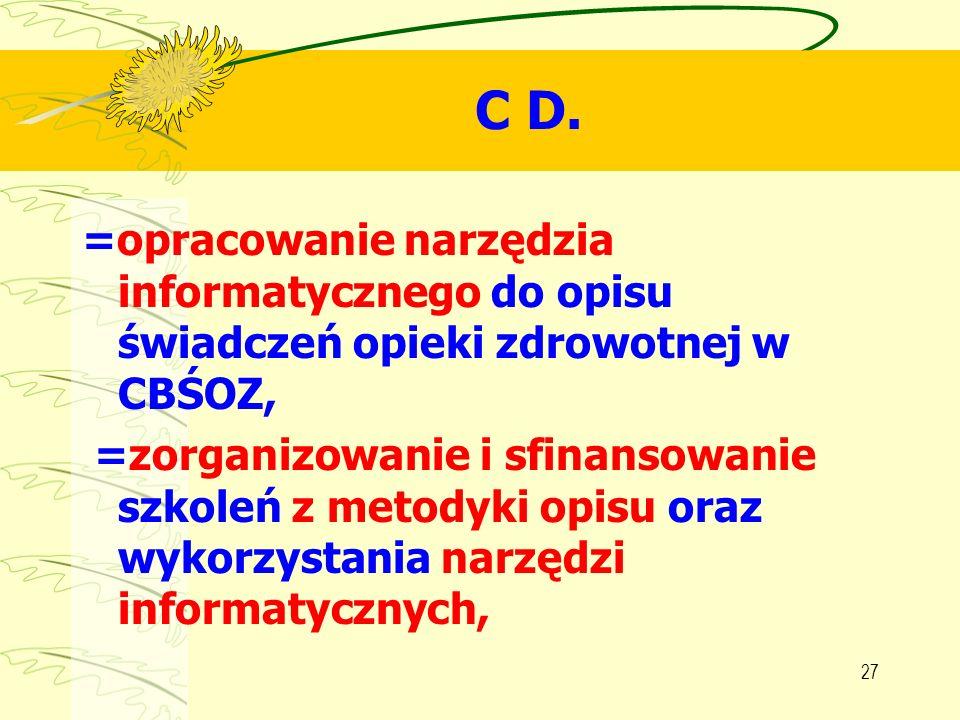 C D. =opracowanie narzędzia informatycznego do opisu świadczeń opieki zdrowotnej w CBŚOZ,