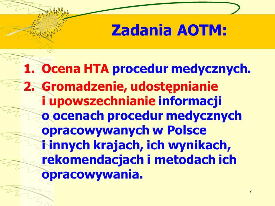 Zadania AOTM: Ocena HTA procedur medycznych.