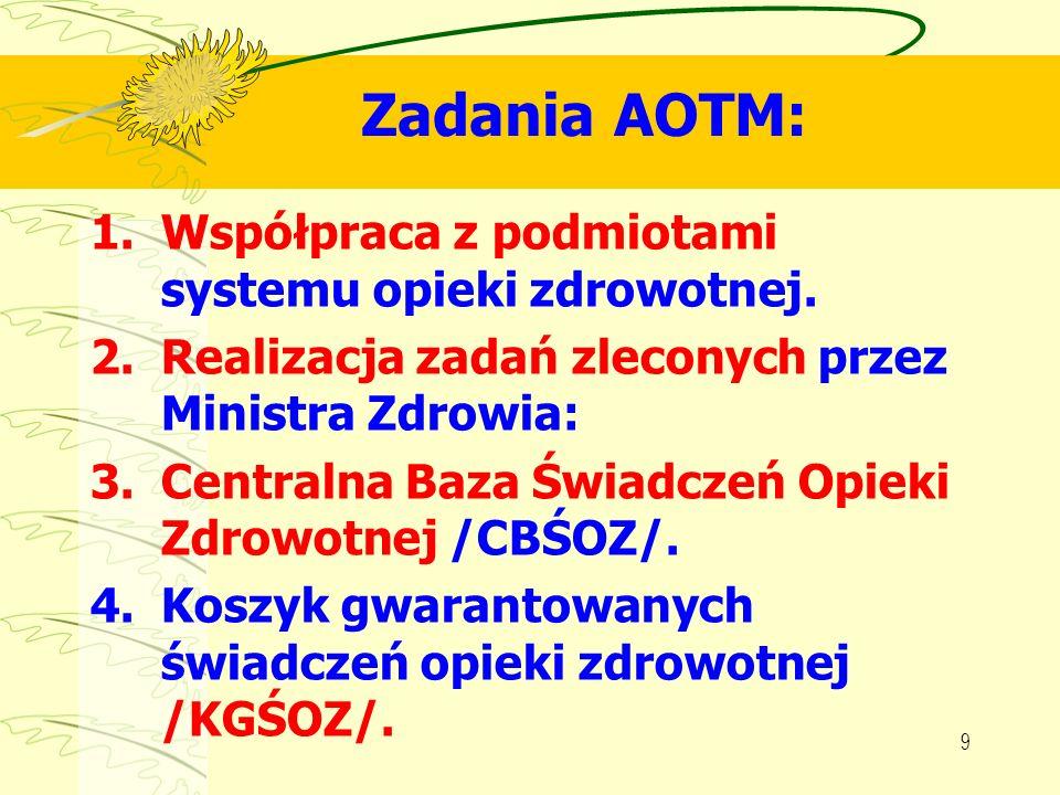 Zadania AOTM: Współpraca z podmiotami systemu opieki zdrowotnej.