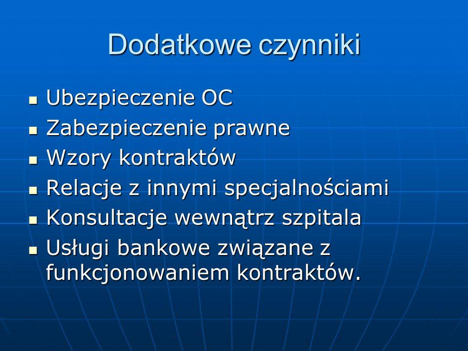 Dodatkowe czynniki Ubezpieczenie OC Zabezpieczenie prawne