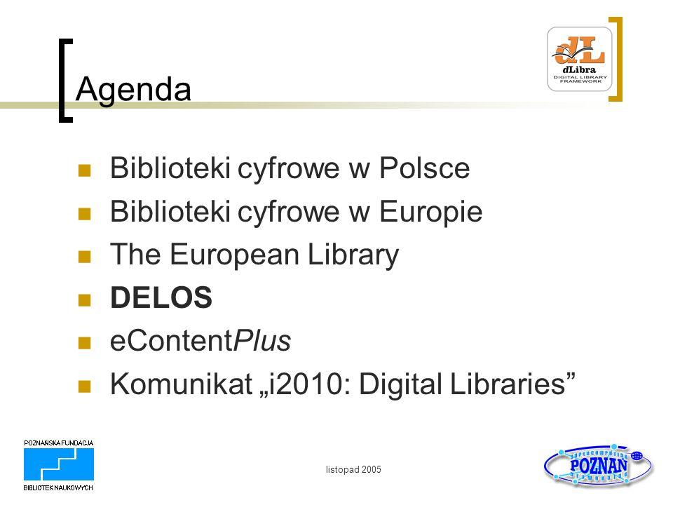Agenda Biblioteki cyfrowe w Polsce Biblioteki cyfrowe w Europie