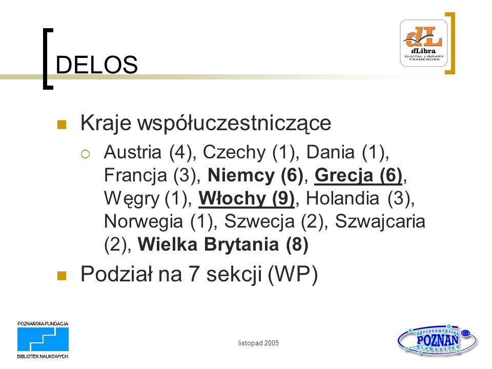 DELOS Kraje współuczestniczące Podział na 7 sekcji (WP)