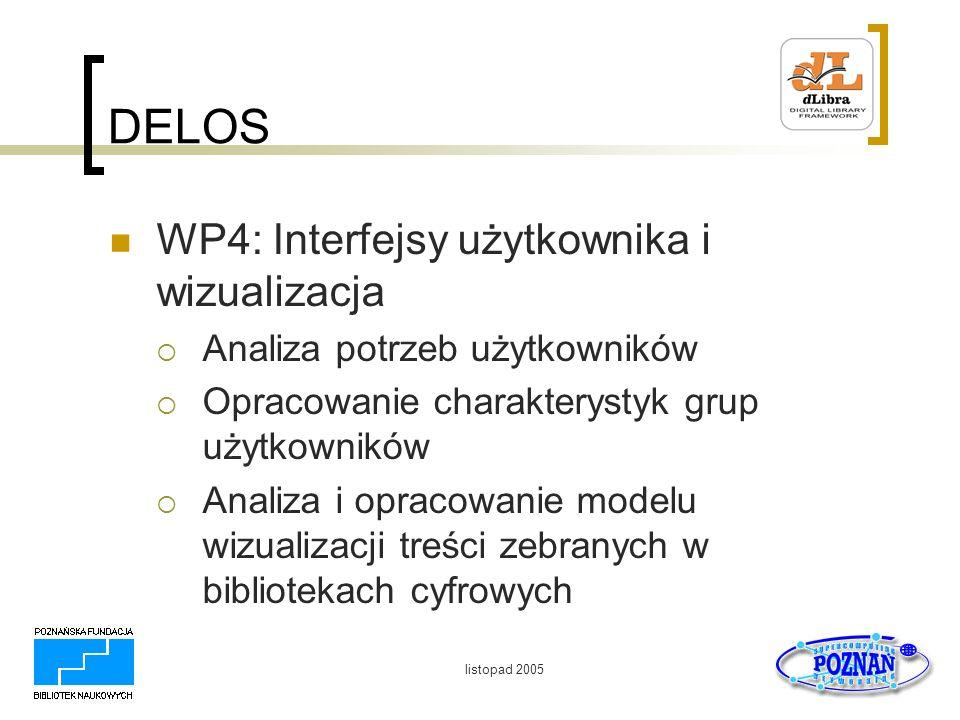 DELOS WP4: Interfejsy użytkownika i wizualizacja