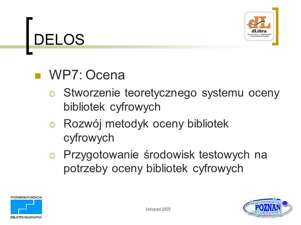 DELOS WP7: Ocena. Stworzenie teoretycznego systemu oceny bibliotek cyfrowych. Rozwój metodyk oceny bibliotek cyfrowych.