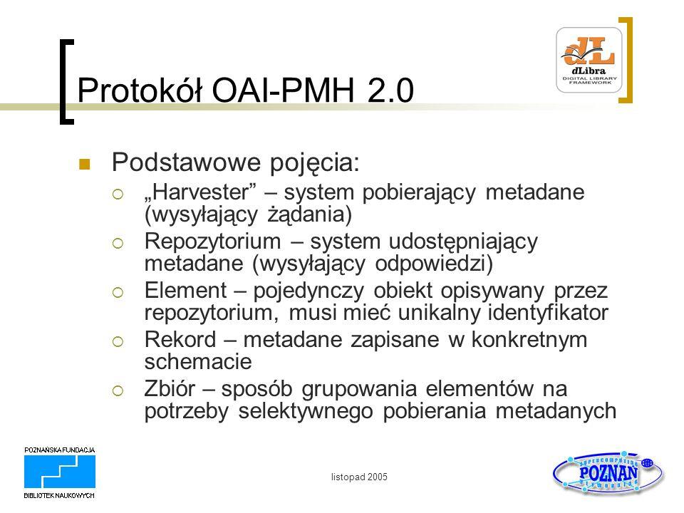 Protokół OAI-PMH 2.0 Podstawowe pojęcia: