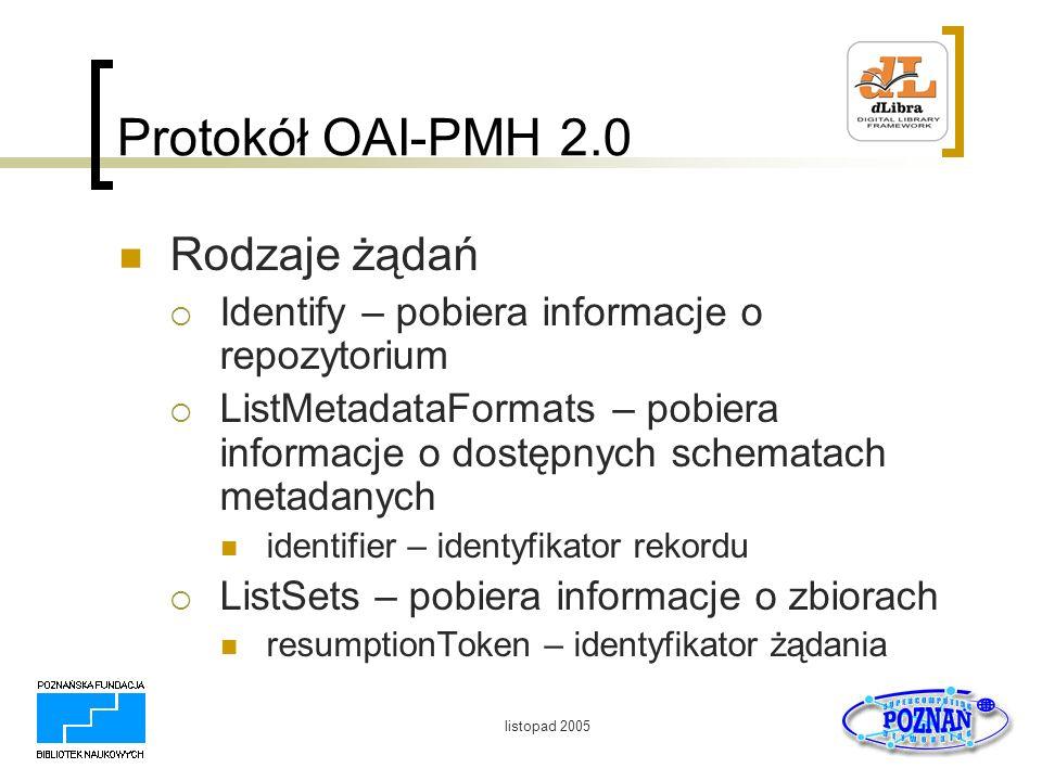 Protokół OAI-PMH 2.0 Rodzaje żądań