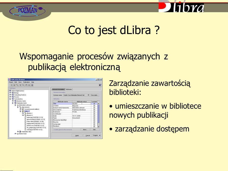 Co to jest dLibra Wspomaganie procesów związanych z publikacją elektroniczną. Zarządzanie zawartością biblioteki: