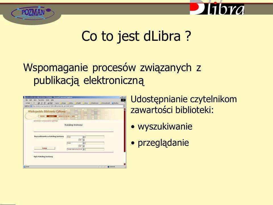 Co to jest dLibra Wspomaganie procesów związanych z publikacją elektroniczną. Udostępnianie czytelnikom zawartości biblioteki: