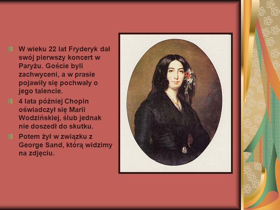 W wieku 22 lat Fryderyk dał swój pierwszy koncert w Paryżu