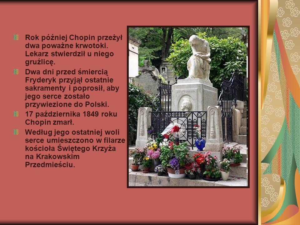 Rok później Chopin przeżył dwa poważne krwotoki