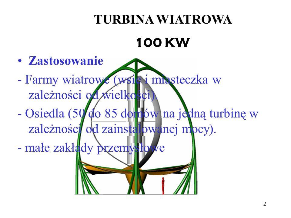 TURBINA WIATROWA 100 KW. Zastosowanie. - Farmy wiatrowe (wsie i miasteczka w zależności od wielkości).