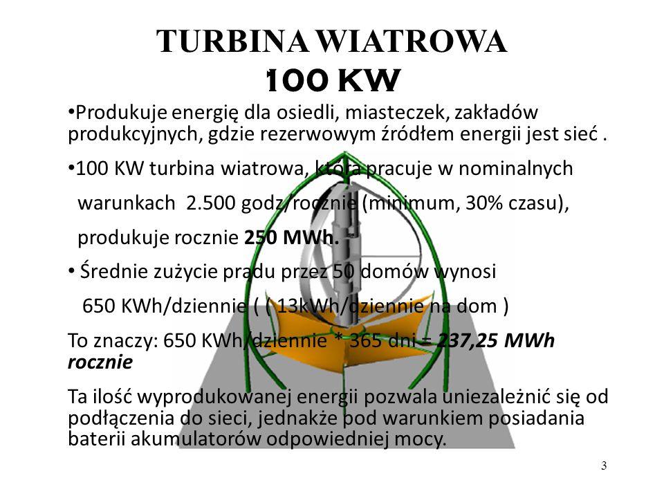 TURBINA WIATROWA 100 KW. Produkuje energię dla osiedli, miasteczek, zakładów produkcyjnych, gdzie rezerwowym źródłem energii jest sieć .