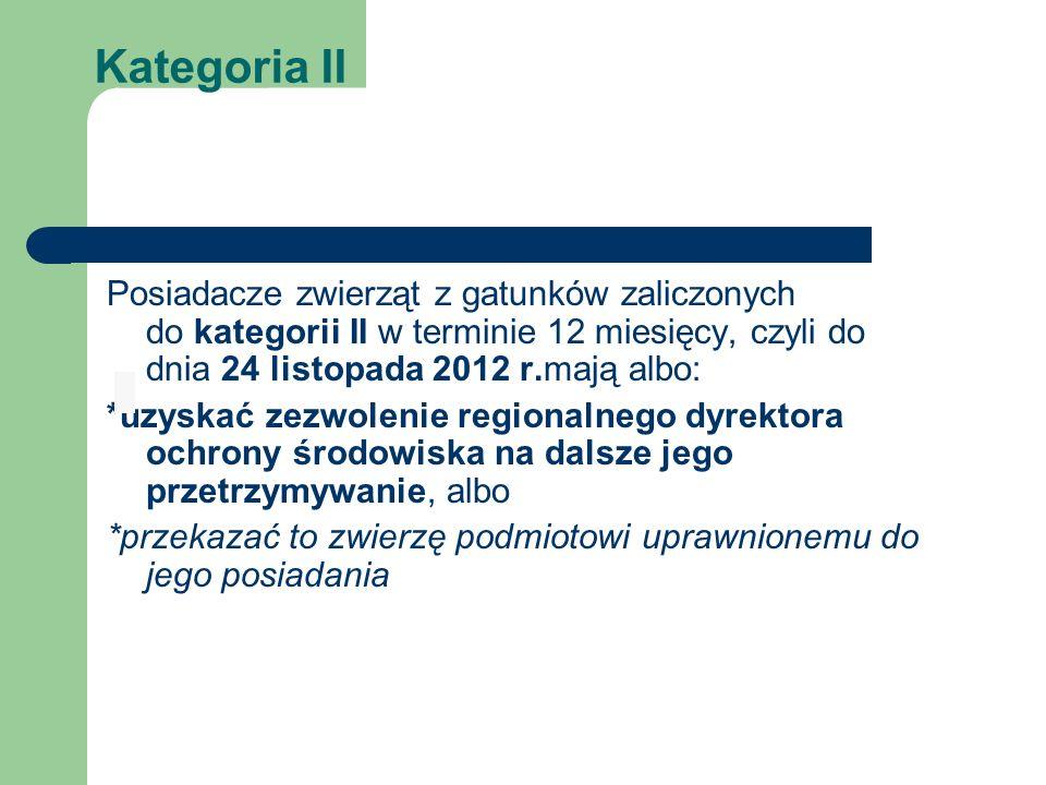 Kategoria II Posiadacze zwierząt z gatunków zaliczonych do kategorii II w terminie 12 miesięcy, czyli do dnia 24 listopada 2012 r.mają albo: