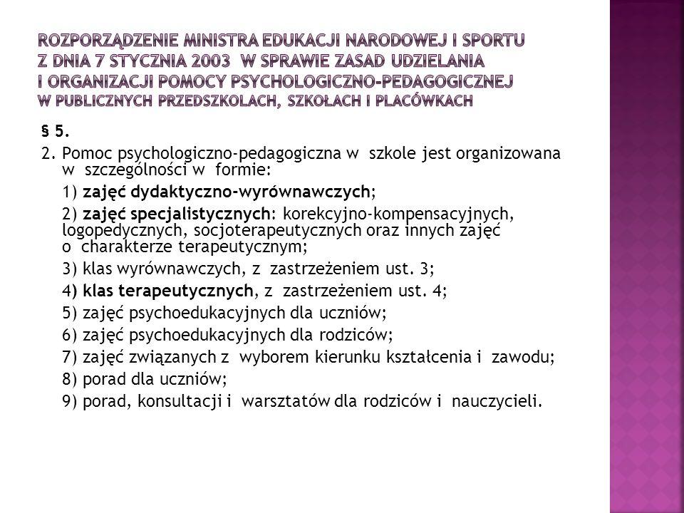 Rozporządzenie Ministra Edukacji Narodowej i Sportu z dnia 7 stycznia 2003 w sprawie zasad udzielania i organizacji pomocy psychologiczno-pedagogicznej w publicznych przedszkolach, szkołach i placówkach