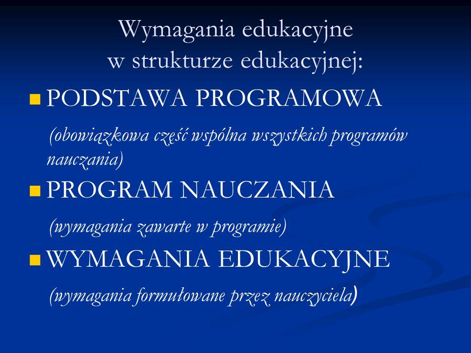 Wymagania edukacyjne w strukturze edukacyjnej: