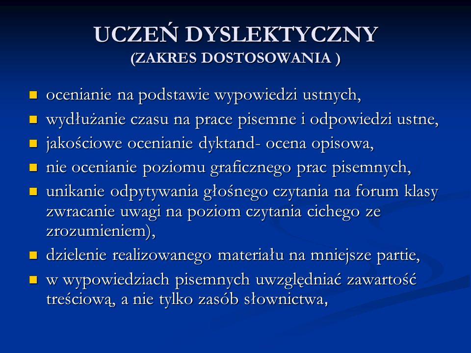 UCZEŃ DYSLEKTYCZNY (ZAKRES DOSTOSOWANIA )