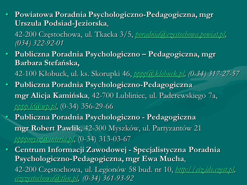 Powiatowa Poradnia Psychologiczno-Pedagogiczna, mgr Urszula Podsiad-Jeziorska,