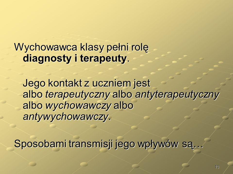 Wychowawca klasy pełni rolę diagnosty i terapeuty.