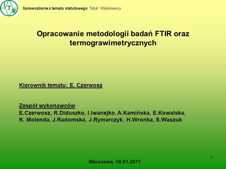 Opracowanie metodologii badań FTIR oraz termograwimetrycznych
