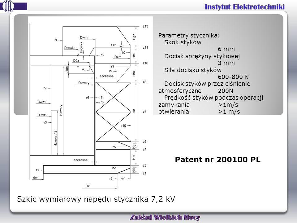 Szkic wymiarowy napędu stycznika 7,2 kV