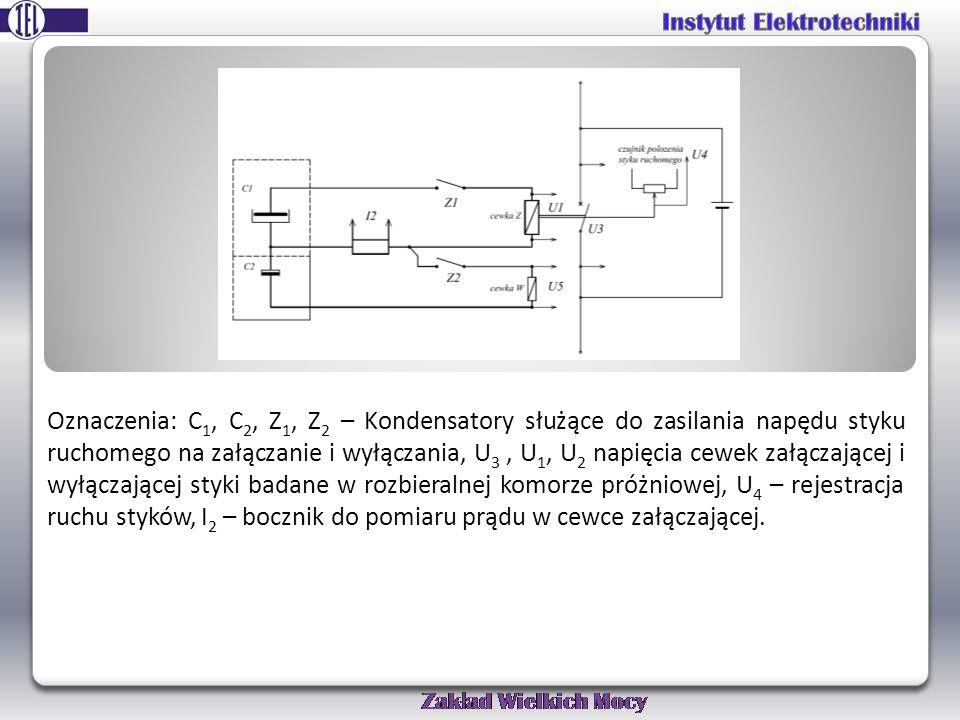 Oznaczenia: C1, C2, Z1, Z2 – Kondensatory służące do zasilania napędu styku ruchomego na załączanie i wyłączania, U3 , U1, U2 napięcia cewek załączającej i wyłączającej styki badane w rozbieralnej komorze próżniowej, U4 – rejestracja ruchu styków, I2 – bocznik do pomiaru prądu w cewce załączającej.