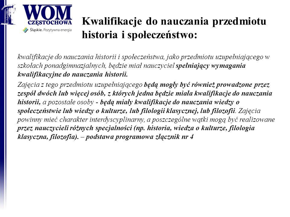 Kwalifikacje do nauczania przedmiotu historia i społeczeństwo:
