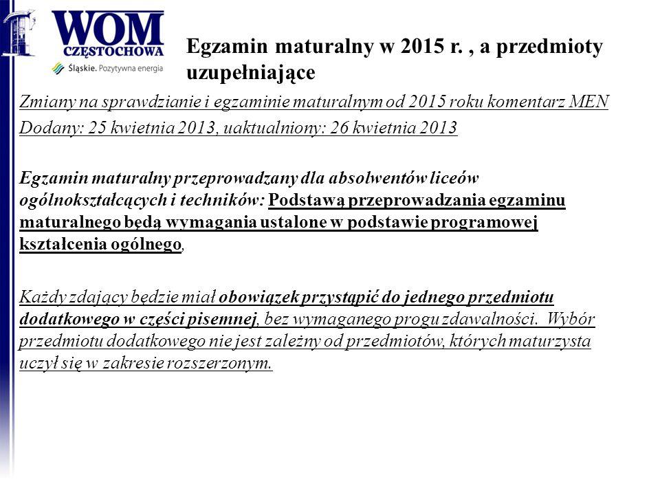 Egzamin maturalny w 2015 r. , a przedmioty uzupełniające