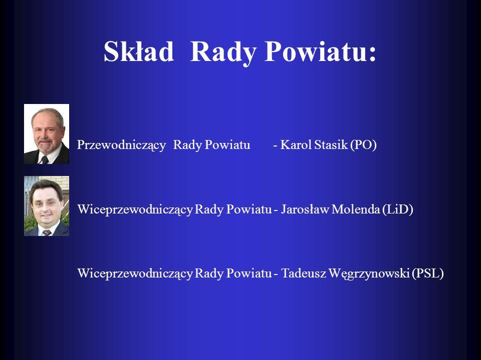 Skład Rady Powiatu: Przewodniczący Rady Powiatu - Karol Stasik (PO)